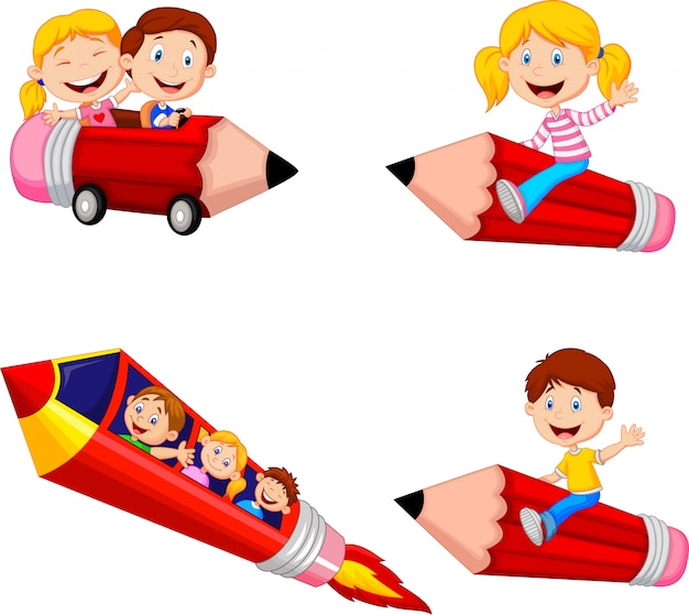 Cartoon children riding pencil toys collection set Premium Vector
