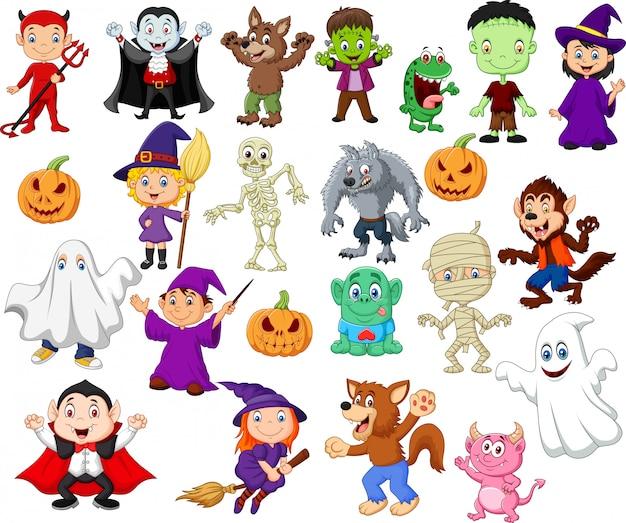 Cartoon children with halloween costume Premium Vector
