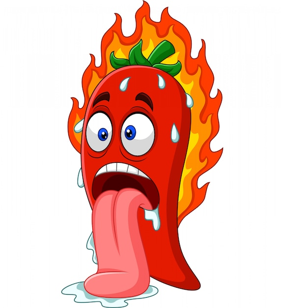 Cartoon chili pepper with tongue out Premium Vector