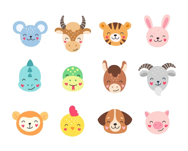 Cartoon chinese zodiac, illustration of cute animals isolated on white background. Premium Vector