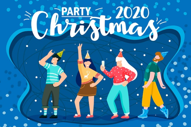 漫画のクリスマス。パーティー2021を祝います。漫画。コーポレートパーティー。クリスマスパーティー。フラットな抽象的なデザイン。明けましておめでとうございます2021年休日の冬のデザイン。 Premiumベクター