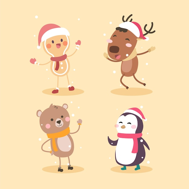 Cartoon christmas characters collection Free Vector