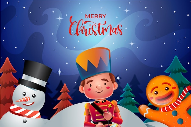 Cartoon christmas characters realistic style Free Vector