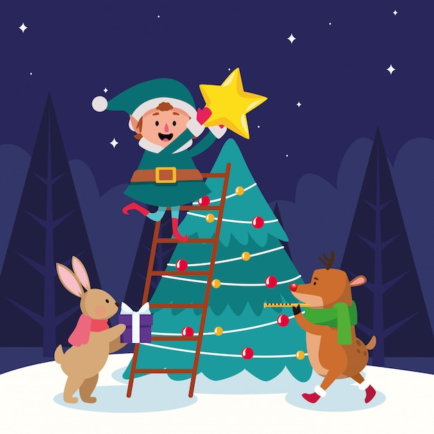Premium Vector Cartoon Christmas Elf And Animals Around Christmas Tree Over Winter Night Colorful Illustration Watch vampirina season 3 full episodes cartoon online free. https www freepik com profile preagreement getstarted 6214762