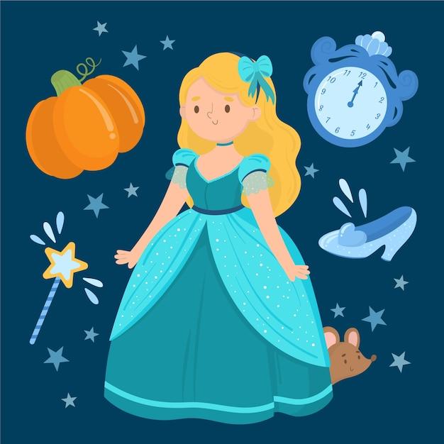 Cartoon cinderella princess with cute elements Free Vector