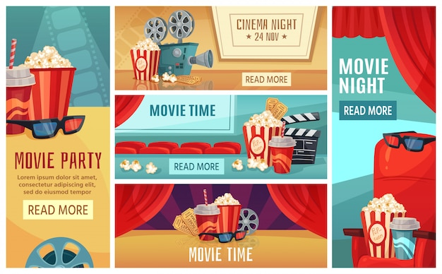 Cartoon cinema banner. movie night tickets, cinemas popcorn and  film projector banners  illustration set Premium Vector