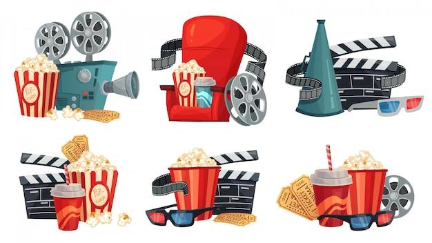 Cartoon cinema. movie projector,  cinema glasses and vintage film camera illustration  set Premium Vector