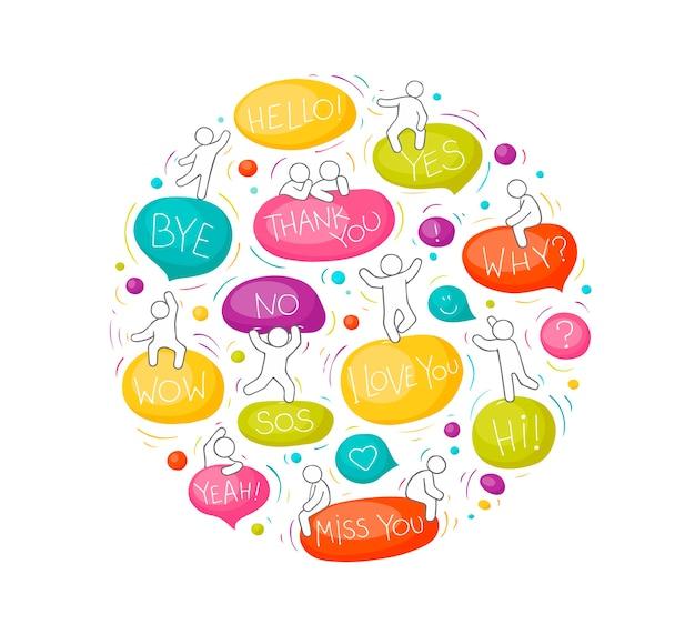 Иллюстрация круга шаржа с пузырями речи. комикс рисованной шаблон с маленькими людьми. Premium векторы