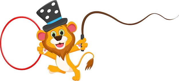 Cartoon circus lion Premium Vector