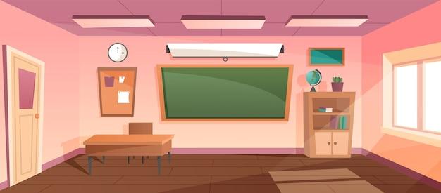 漫画の教室の黒板と机 Premiumベクター