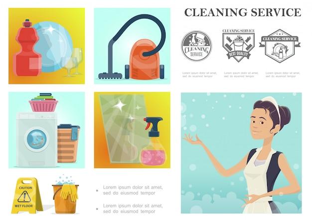 Composizione di servizio di pulizia del fumetto con cameriera e diversi strumenti e oggetti domestici Vettore gratuito