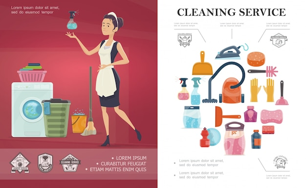 Cartoon cleaning service concept with different household cleaning equipment and maid holding bottle spray Free Vector