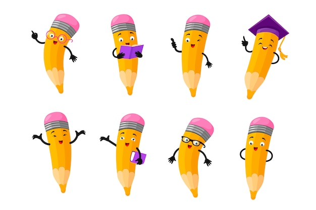 Cartoon clever pencil character vector set Premium Vector