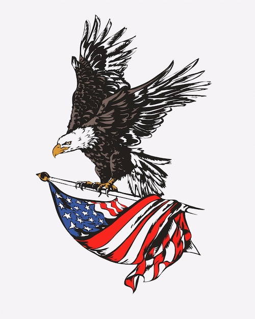 Cartoon clip art illustration of a mean screaming bald eagle flying forward with talons out and spread american flag wings. Premium Vector
