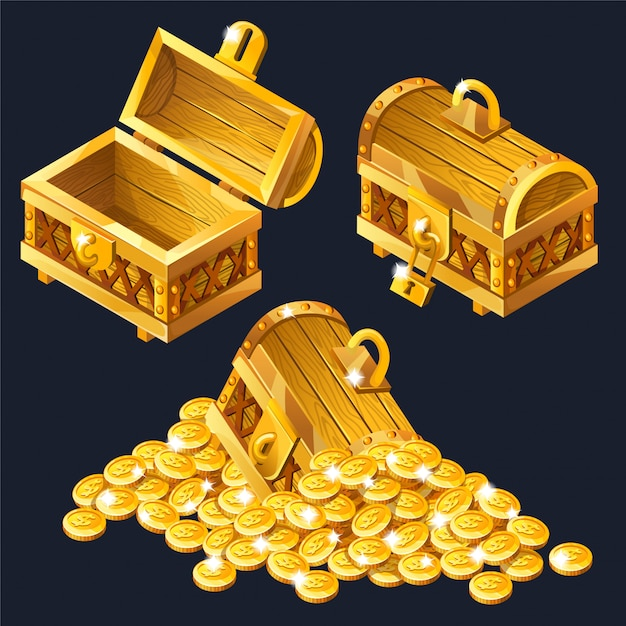 Cartoon closed and opened wooden isometric chests Premium Vector