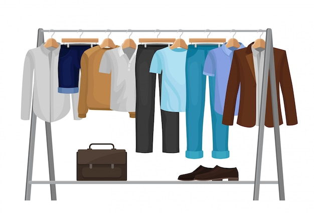 Cartoon clothes on hangers. fashion for man. Premium Vector