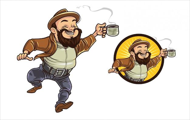 Cartoon coffe guy Premium Vector