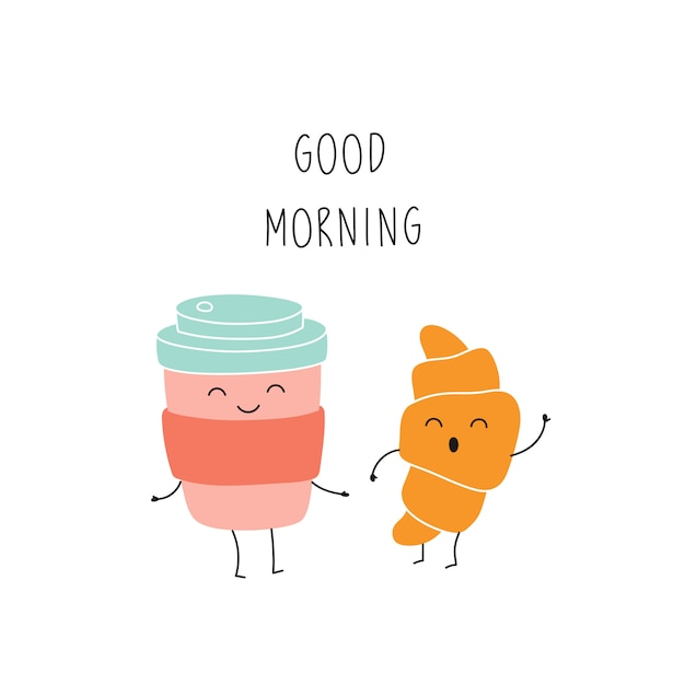 Cartoon coffee cup, croissant, good morning, funny character. Premium Vector