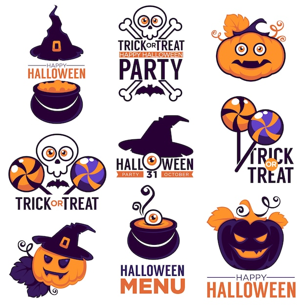 Cartoon collection of bright logo, stickers and icons with lettering composition for your halloween party Premium Vector