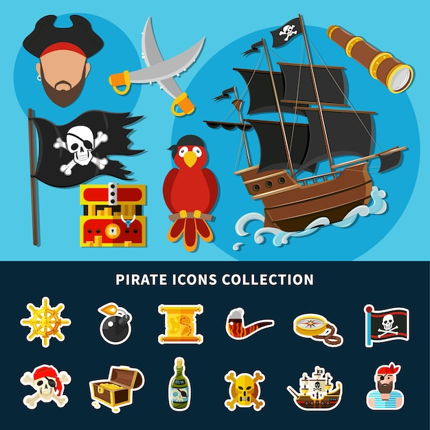 Cartoon collection of pirate icons with jolly roger, sail ship, treasure chest, rum, helm isolated illustration Free Vector