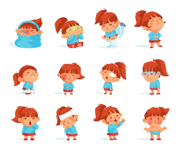 Cartoon collection of sick child figurines Free Vector