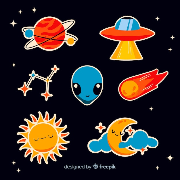 Cartoon collection with space stickers Free Vector