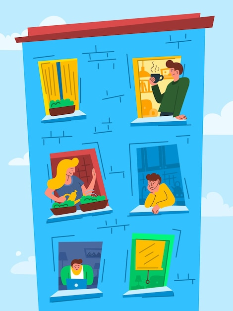 Мультяшные цветные персонажи люди в windows Premium векторы