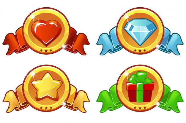 Cartoon colored icon for game Premium Vector