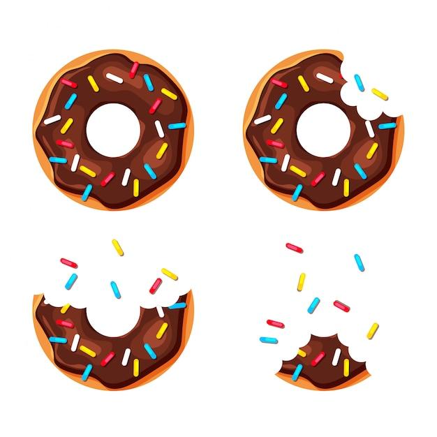 Мультфильм красочные пончики набор, изолированные на белом фоне. укушенный и почти съеденный пончик. вид сверху сладкие сахарные пончики. иллюстрация в модном плоском стиле. Premium векторы