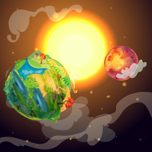 漫画のカラフルな地球惑星テンプレート 無料ベクター
