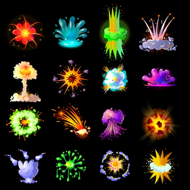 Cartoon colorful explosions collection Free Vector