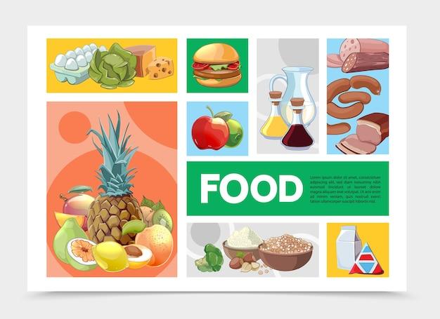 漫画のカラフルな食べ物のインフォグラフィックテンプレート Premiumベクター