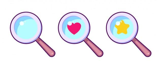 漫画のカラフルなルーペのシンボルセット。星とハートのアイコン付きの拡大鏡。ゲームデザイン、ui要素。検索愛の概念 Premiumベクター