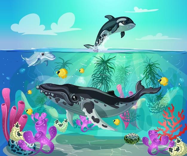 Мультфильм красочные морской жизни фон Бесплатные векторы