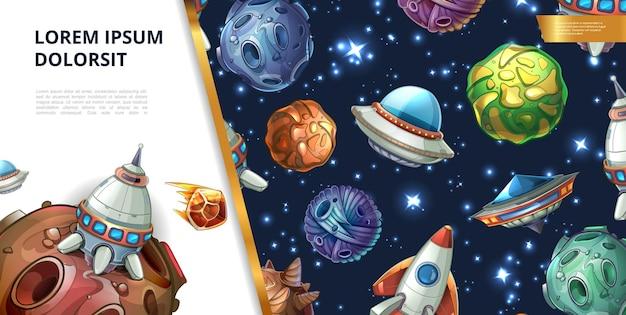 Cartoon colorato concetto di spazio con fantasia pianeti meteore asteroidi razzo ufo e astronave Vettore gratuito