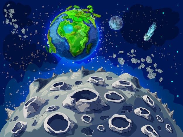 Cartoon colorato spazio paesaggio modello Vettore gratuito