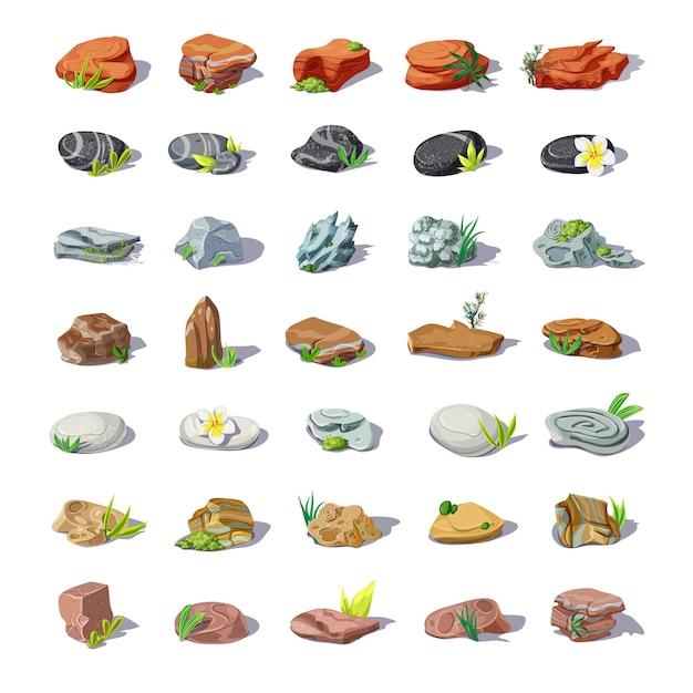 Cartoon pietre colorate insieme con massi ciottoli arenarie macerie ciottoli rocce di diverse forme isolate Vettore gratuito