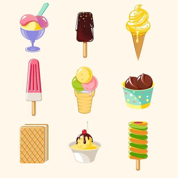 Набор красочных вкусного мороженого мультфильм Бесплатные векторы