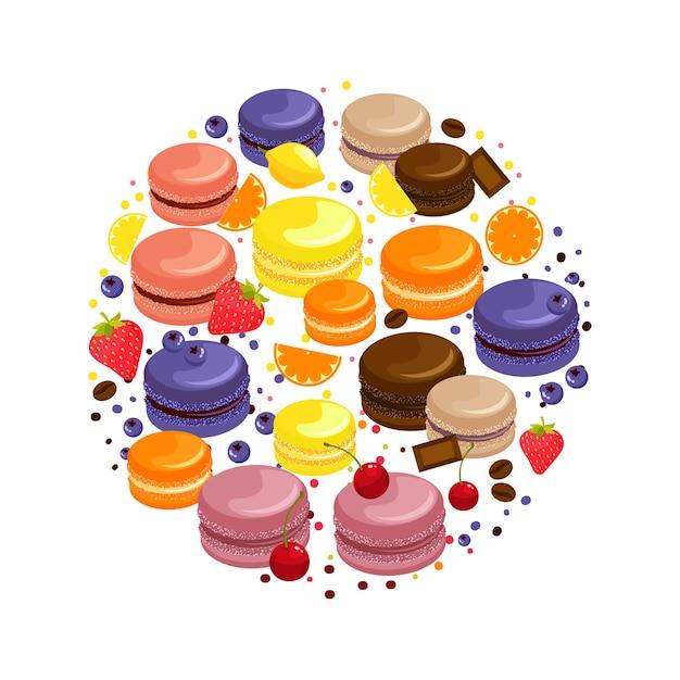 Мультфильм красочные вкусные миндальное печенье круглая концепция с фруктами, шоколадом и кофейными зернами, изолированных иллюстрация Бесплатные векторы