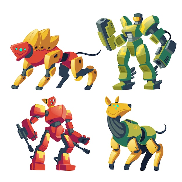 Cartoon combat robots and mechanical dogs. battle androids with artificial intelligence Free Vector