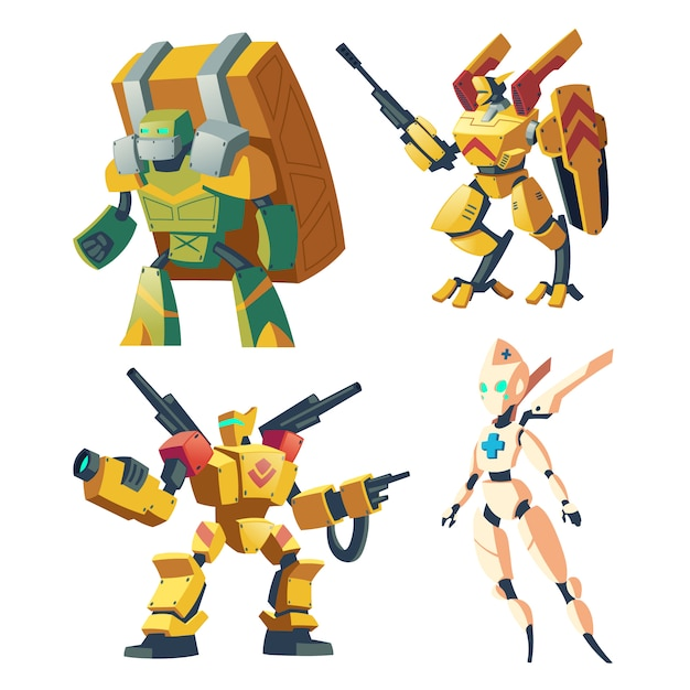 Cartoon combat robots for role playing video game. battle androids. Free Vector