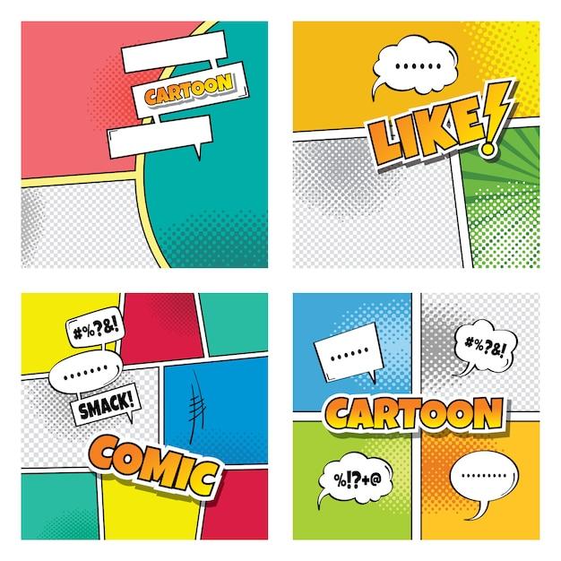 cartoon comic book template theme vector art illustration vector