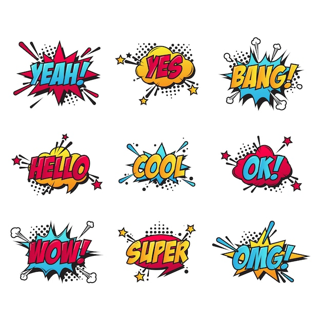 Cartoon comic text patches set Free Vector