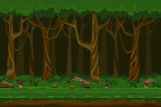 Cartoon computer games night forest landscape. plant green, natural environment, wood and grass, Free Vector