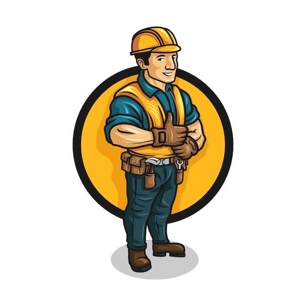 Cartoon contractor character mascot logo. Premium Vector