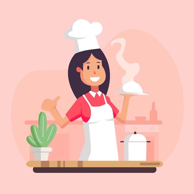 Cartoon cook chef illustration, restaurant cook chef hat and cook uniform, Premium Vector