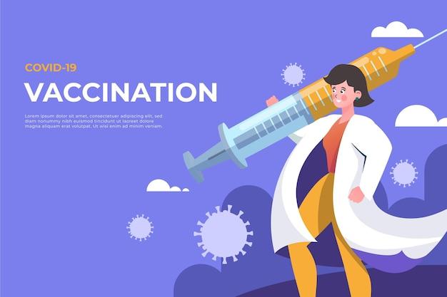 Priorità bassa del vaccino contro il coronavirus del fumetto Vettore gratuito