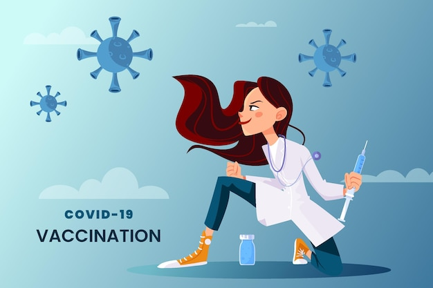 Cartoon coronavirus vaccine in doctor's hands background Premium Vector
