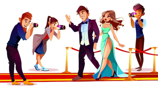 Cartoon couple of famous celebrities on red carpet with paparazzi Free Vector