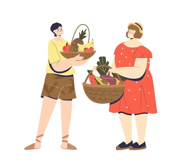 新鮮な有機果物や野菜のバスケットを保持している漫画のカップル。 Premiumベクター